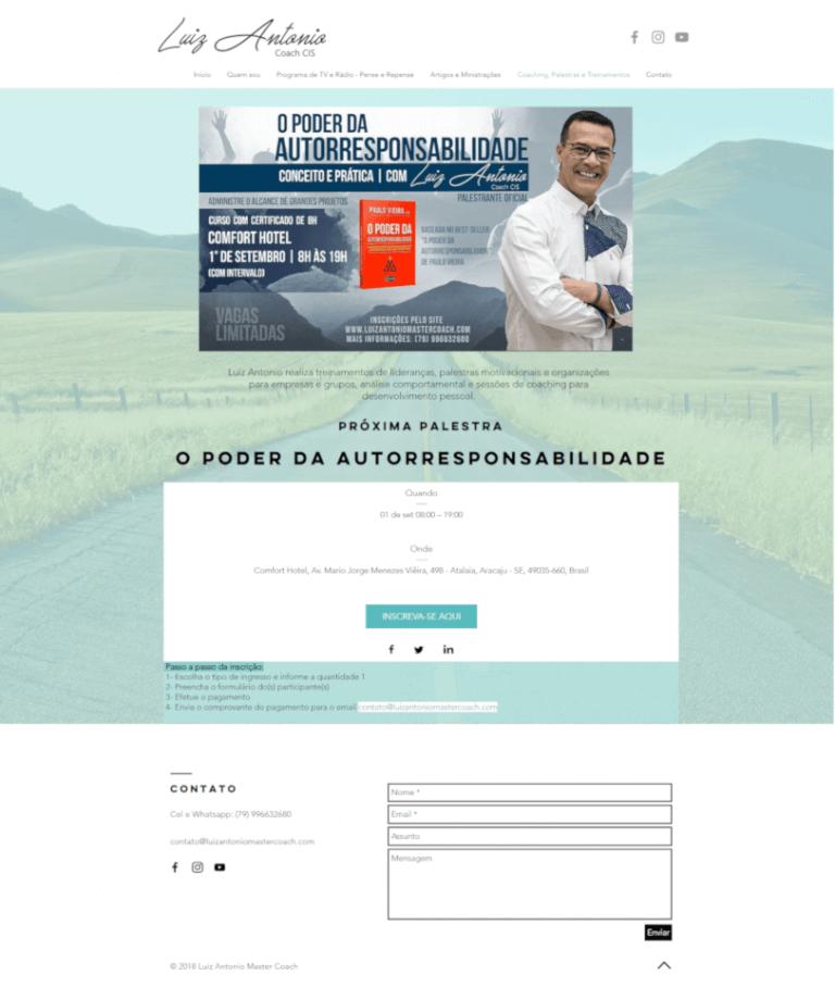 página de inscrição do curso o poder da autorresponsabilidade - Coach Luiz Antonio