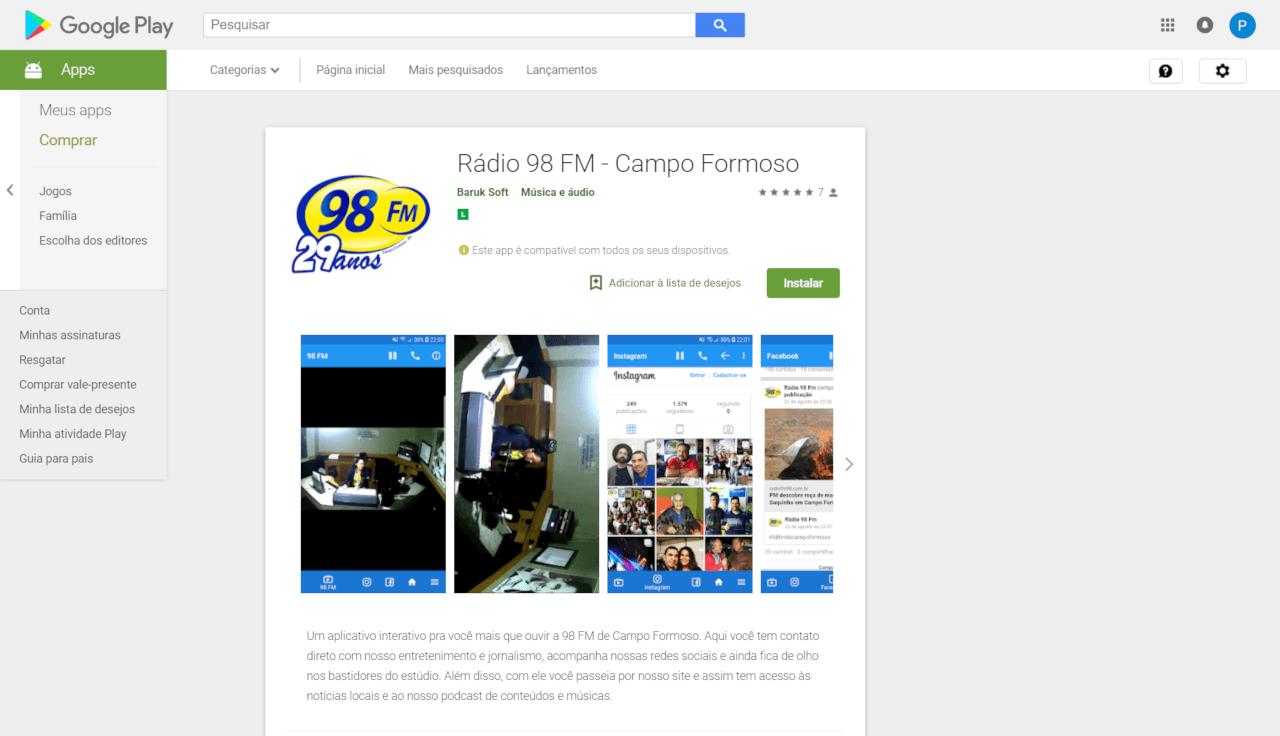 Aplicativo Rádio 98 FM – Campo Formoso