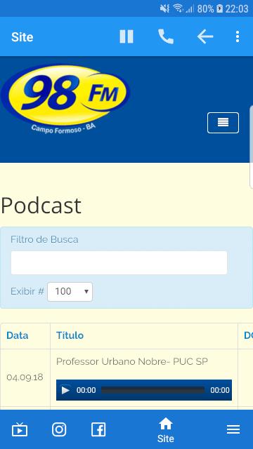 aplicativo para rádios - fm 98 campo formoso - acesso ao podcast - baruk soft