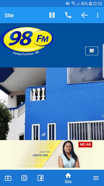 aplicativo para rádios - fm 98 campo formoso - acesso ao site - baruk soft