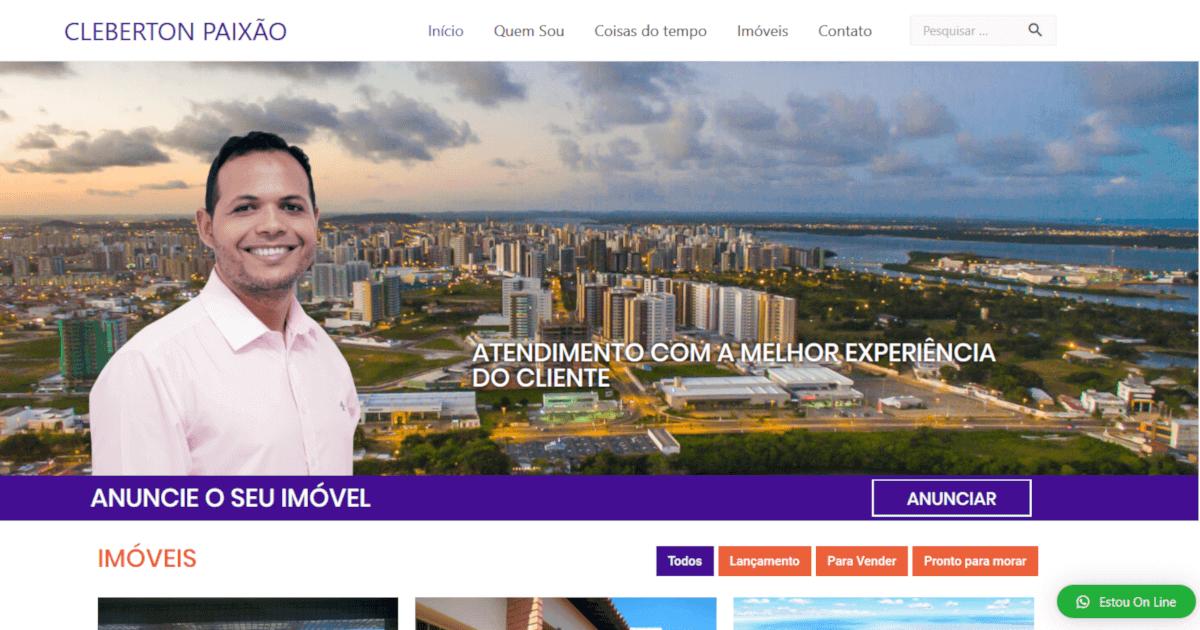 Site do corretor de imóveis Cleberton Paixão