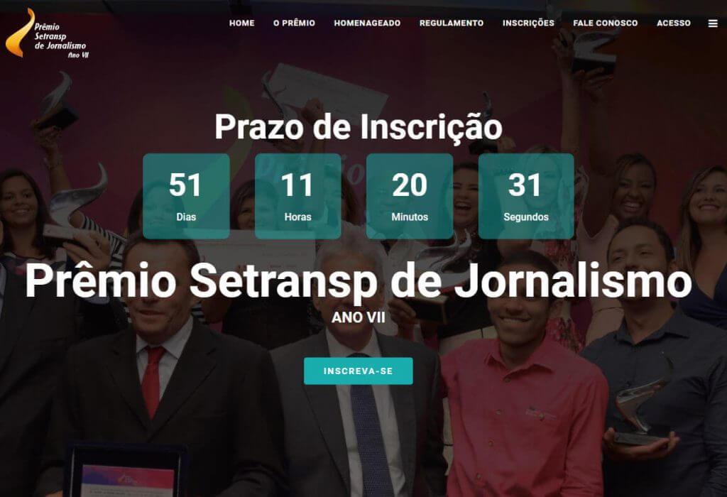 sistema prêmio setransp de jornalismo - site divulgação