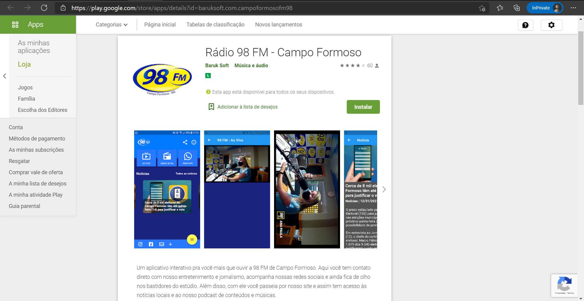Novo Aplicativo da Rádio 98 FM – Campo Formoso