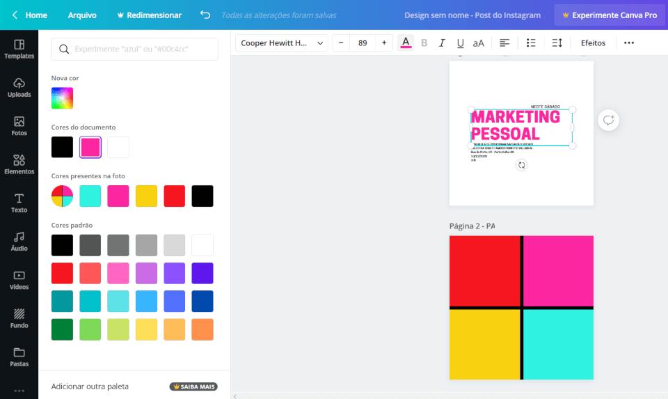 aprenda a criar paleta de cores no canva gratis - cores reconhecidas