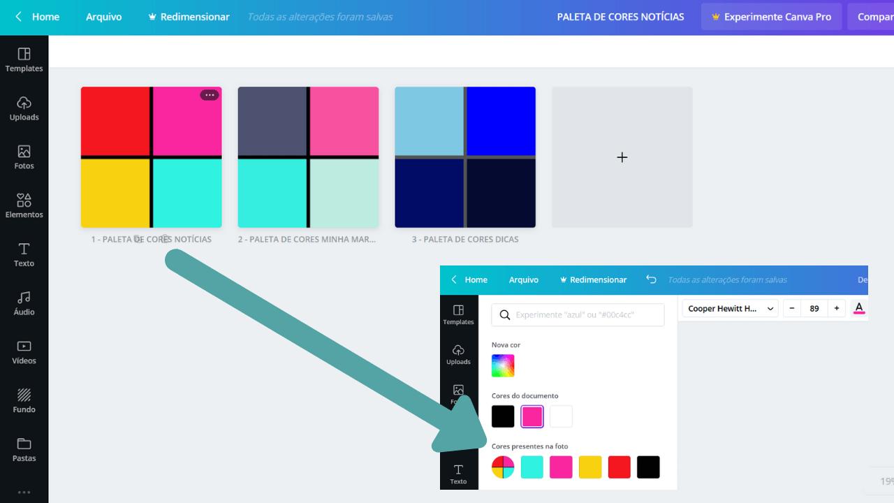 Como organizar a sua paleta de cores no Canva Grátis