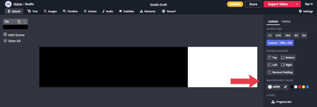 alterar a cor de fundo do projeto, da barra de progresso