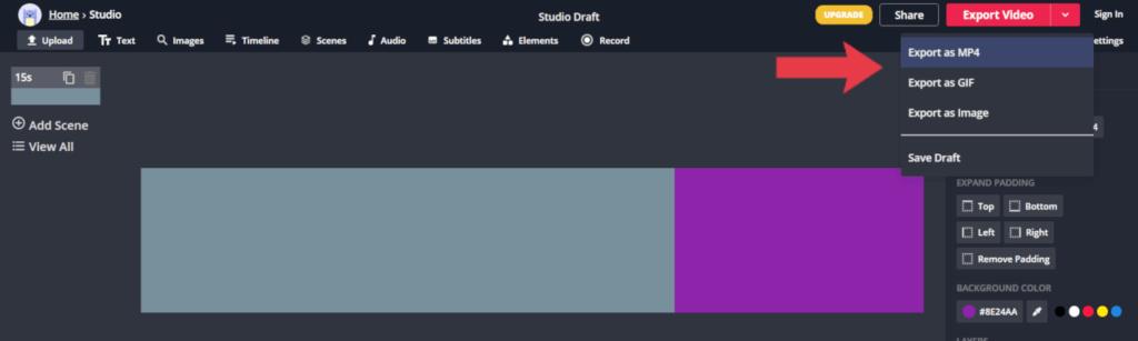 Exportando a barra de progresso no formato de vídeo ou gif animado
