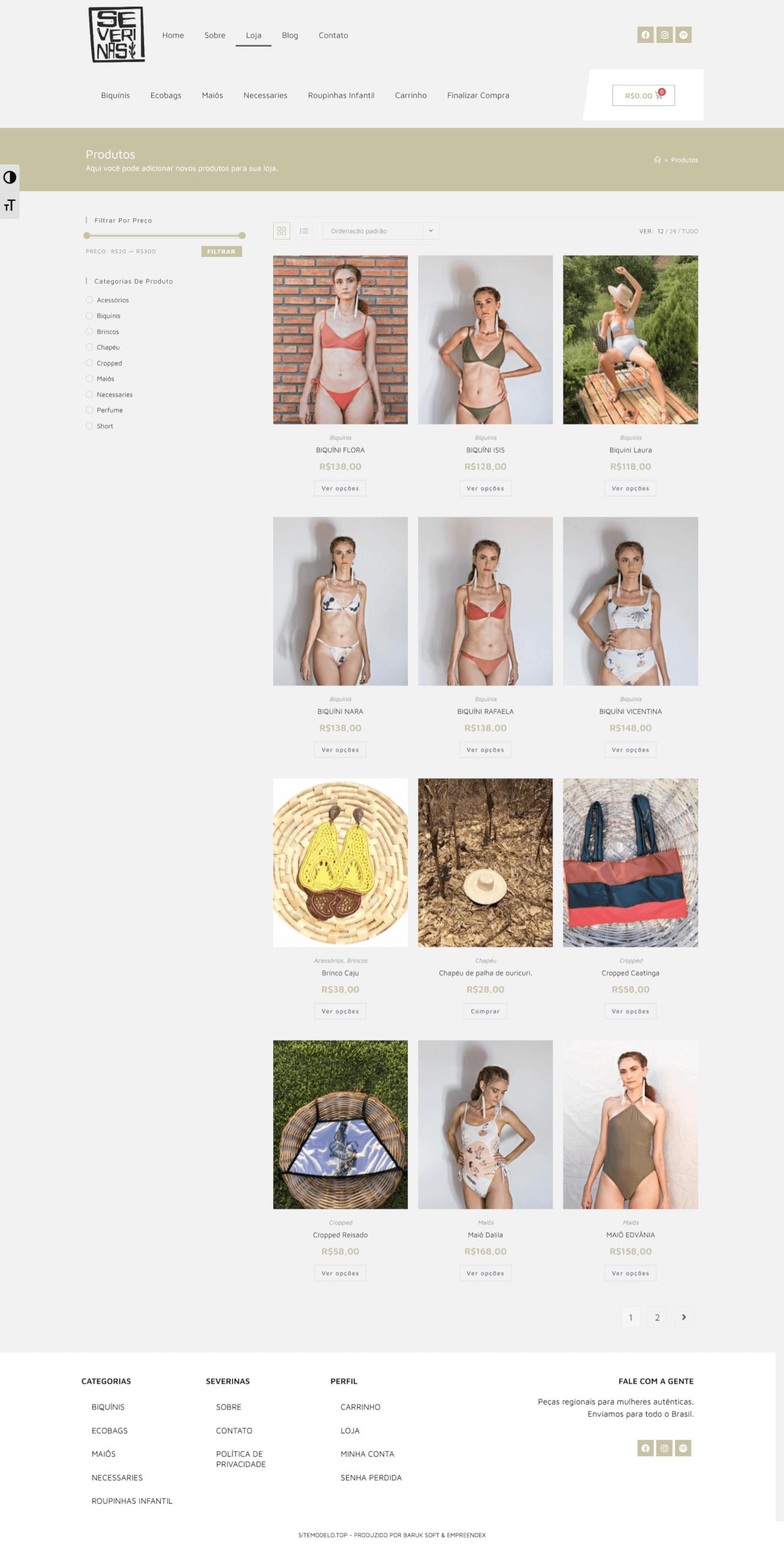 loja virtual moda praia feminina-masculina acessorios roupas aracaju/sergipe - página listagem dos produtos - severinas