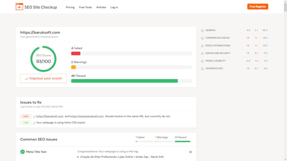 teste utilizando o seo site checkup