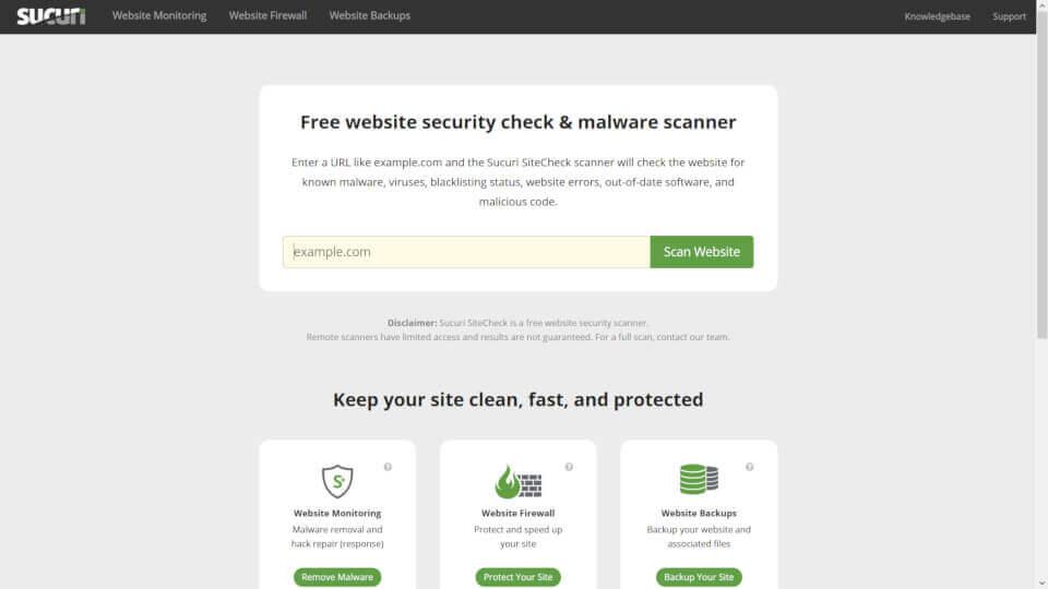 Ferramenta on line SUCURI - testar vulnerabilidade de um site