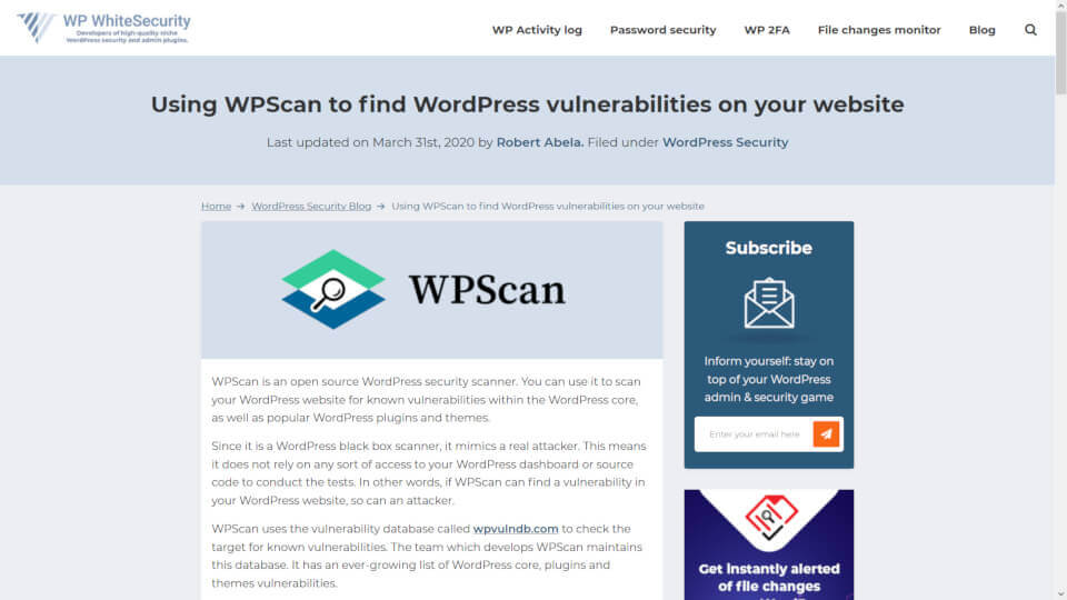 Ferramenta WPSCAN - Plugin WordPress e Programa Linux e Mac