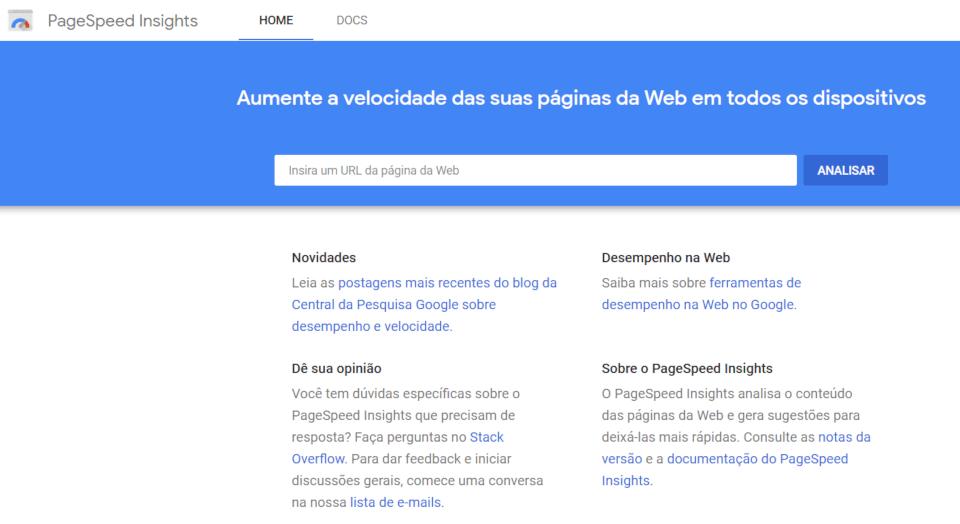 tela inicial do serviço do google para verificar a velocidade de acesso de um site no mobile e no desktop