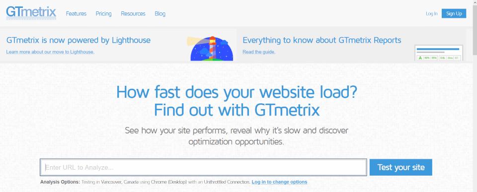 GTmetrix - serviço para analisar a velocidade de um site