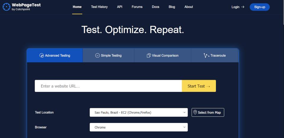 WebPageTest- mais um serviço para testar a velocidade do site. Esse também verifica a segurança