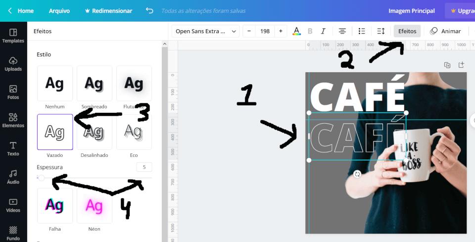 Duplicando o texto e aplicando o efeito de vazado no Canva