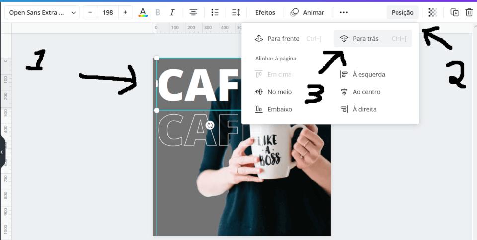 Movendo o primeiro texto para trás da imagem
