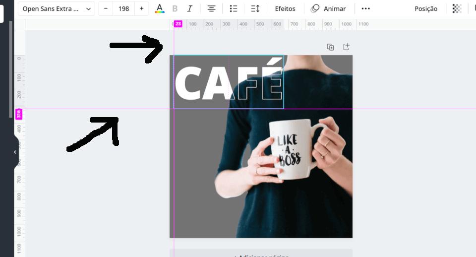 Colocando o segundo texto por cima do primeiro para deixar a imagem com efeito de texto vazado