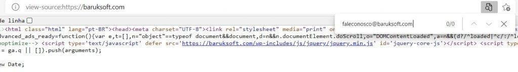 Mostrando que os endereços de email não estão no código fonte, não estão acessíveis para os spam bots