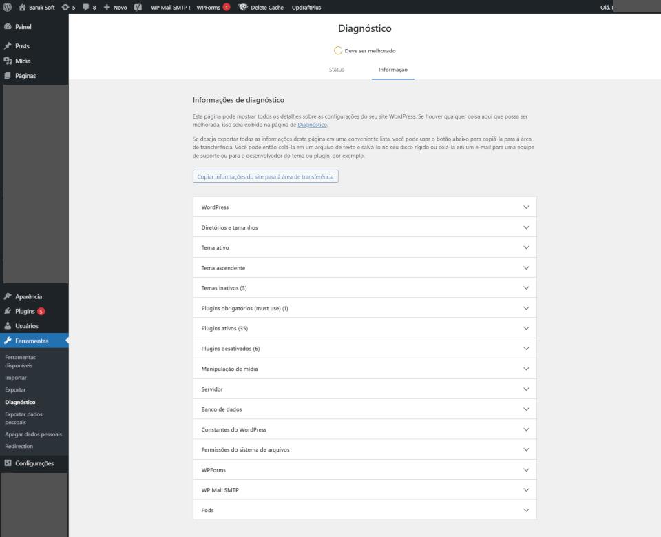 Opção do wordpress para realizar um diagnóstico no site