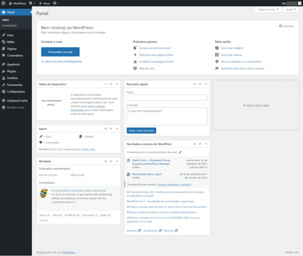 Conhecendo o WordPress - tela inicial da área administrativa