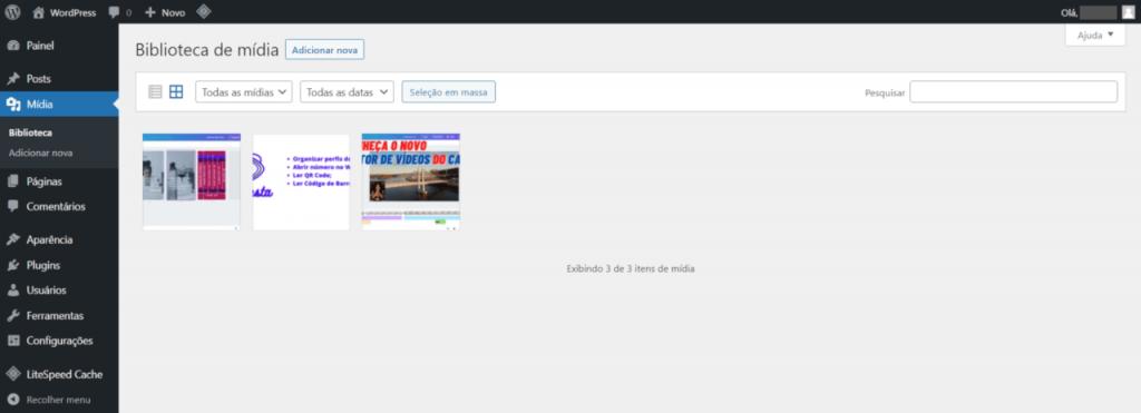 WordPress - tela de listagem dos arquivos de mídia do site