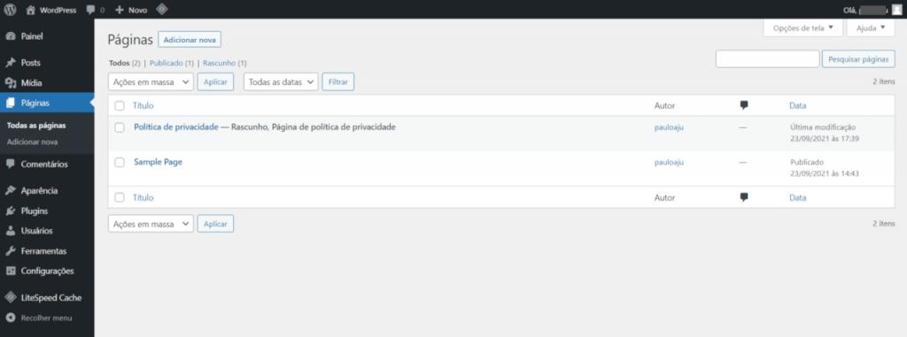 Conhecendo o WordPress - tela de listagem das páginas