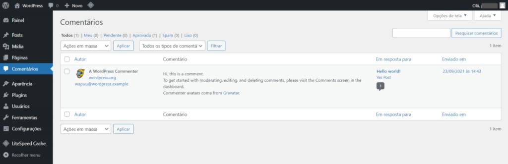tela de listagem dos comentários