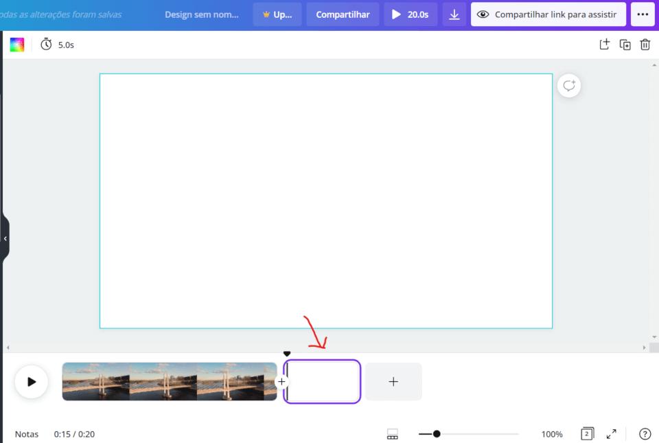 Mostrando a nova página que foi criada na timeline