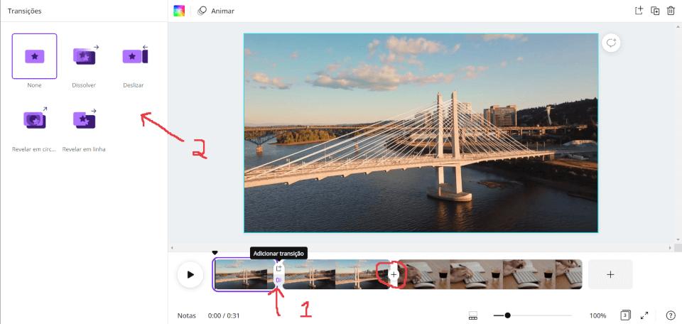 Inserindo transições entre os vídeos no Canva