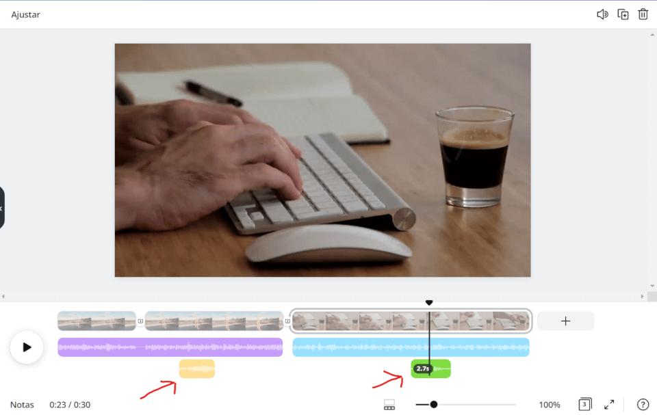 Inserindo mais áudios no editor de vídeos do Canva