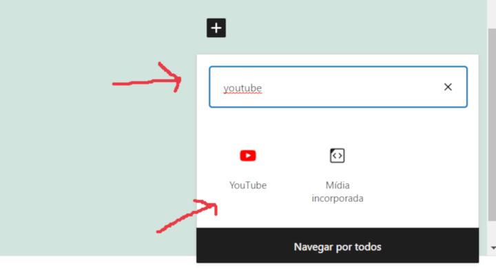 opção para incluir um vídeo do youtube no editor