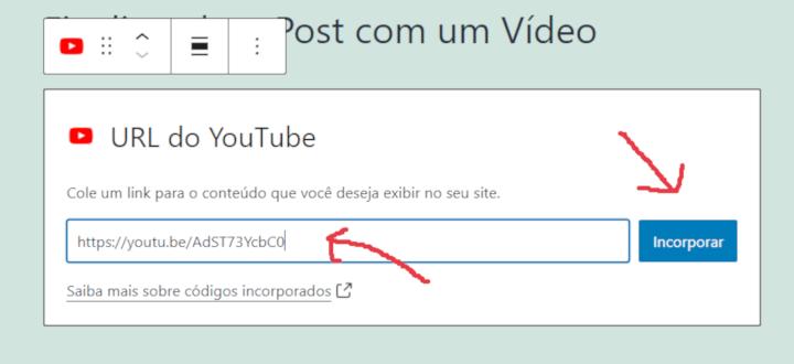 opção de exibir um vídeo do youtube no wordpress