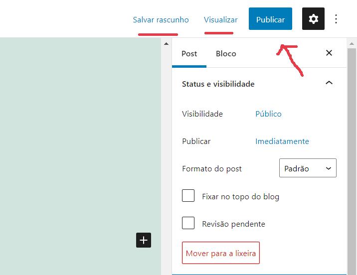 opção para publicar o post - Como publicar um post no WordPress